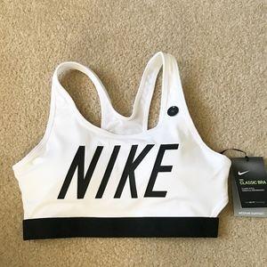 Nike White Logo Classic Sports Bra with Black Logo